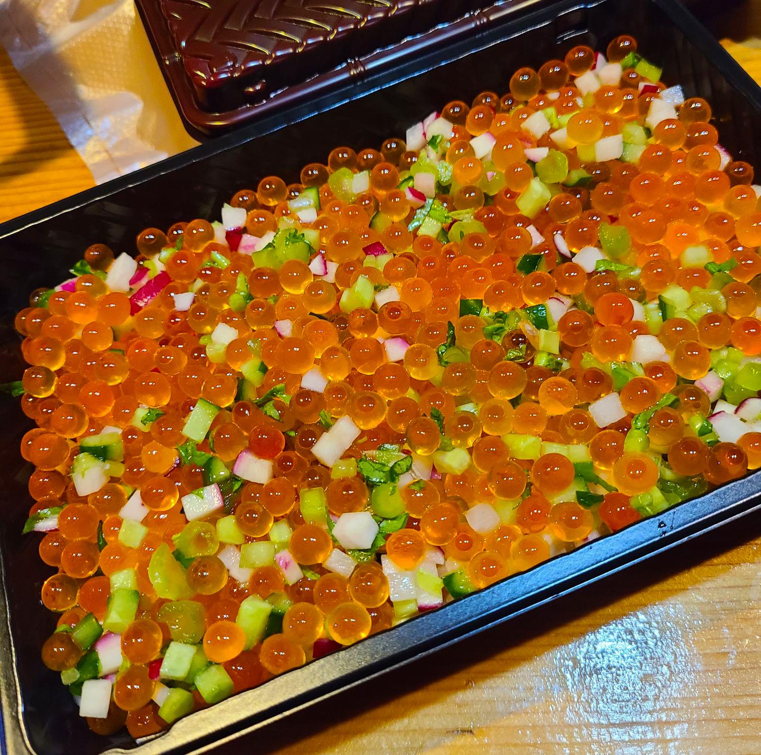 ぎやまんの彩り野菜とピンポンいくらのちらし寿司